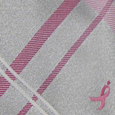 Mens Ties: Plaid: Charcoal Susan G. Koman Knots for Hope Plaid Logo Tie