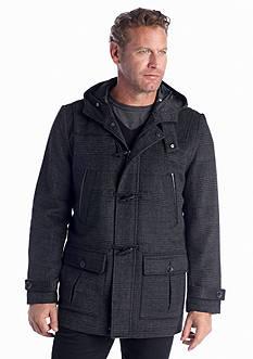 Nautica Wool Blend Plaid Toggle Coat