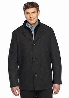 Nautica Big & Tall Wool Herringbone Button Front Coat