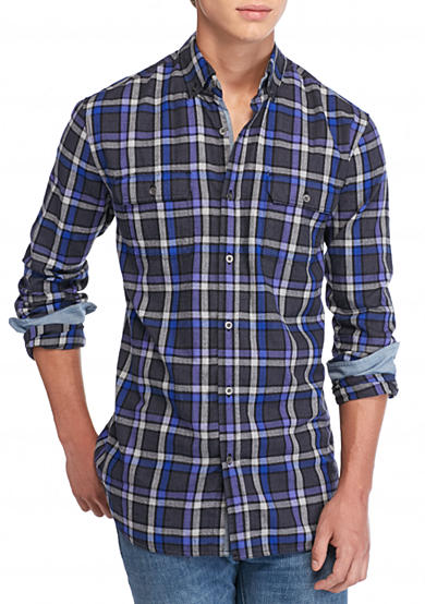 Ocean & Coast® Long Sleeve Brushed Twill Plaid Shirt
