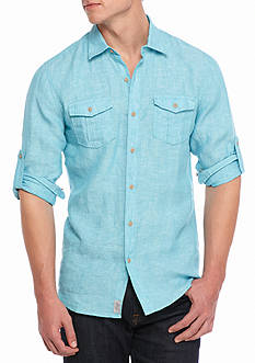 Ocean & Coast Long Sleeve Solid Linen Woven Button Down Shirt