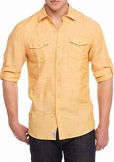 Ocean & Coast Long Sleeve Solid Linen Woven Button Down Shirt