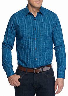 Saddlebred Long Sleeve Non-Iron Dot Print Shirt