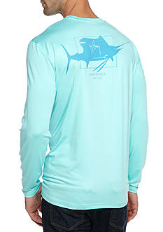 Guy Harvey Sailfish Logo Long Sleeve Performance Graphic Shirt