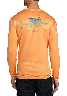 Guy Harvey® Sailfish Scribble Long Sleeve Performance Shirt