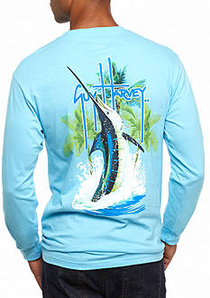 Guy Harvey® Long Sleeve Palm Tree Splash Graphic Tee