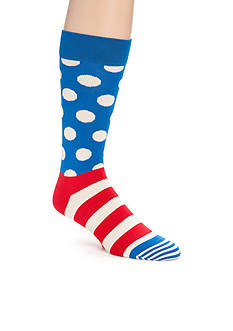 Happy Socks Men's Dot And Stripe Print Crew Socks - Single Pair