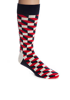 Happy Socks Men's Big & Tall Filled Optic Crew Socks - Single Pair