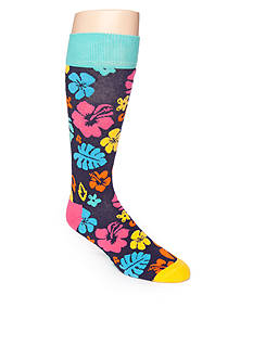 Happy Socks Bright Hawaiian Print Crew Socks - Single Pair
