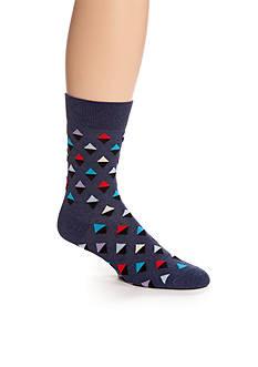 Happy Socks Mini Diamond Navy Crew Socks - Single Pair