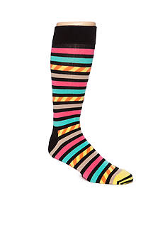 Happy Socks Big & Tall Stripes & Stripes Print Socks- Single Pair