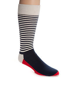 Happy Socks Men's Big & Tall Half Stripe Crew Socks - Single Pair