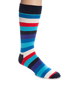Happy Socks Men's Big & Tall Stripe Crew Socks - Single Pair