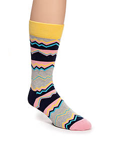Happy Socks Techno Gray Crew Socks - Single Pair