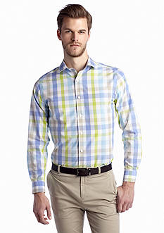 MADE Cam Newton Long Sleeve Non-Iron Gingham Lime Shirt