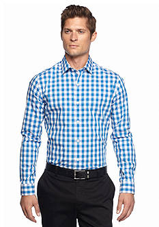 MADE Cam Newton Long Sleeve Blue Medium Gingham Shirt