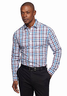 MADE Cam Newton Long Sleeve Non Iron Plaid Dress Shirt