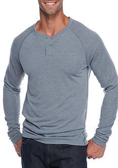 Long Sleeve Mixed Media Henley Shirt
