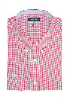 Nautica Classic Fit Kelson Red Checked Button Down Shirt