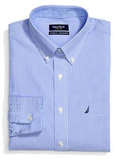 Nautica Regular Blue and White Stripe Dress Shirt