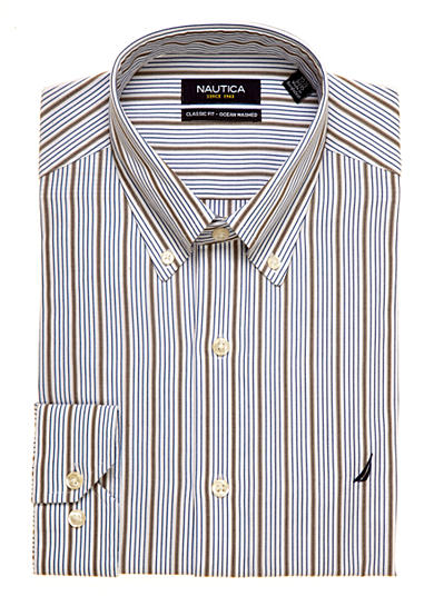 Nautica Classic Fit Striped Ocean Washed Dress Shirt