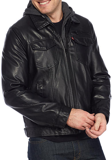Levi's® Big and Tall 2 Pocket Faux Leather Jacket with Hood