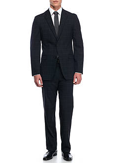 Tommy Hilfiger Classic-Fit Windowpane Stretch Performance Suit