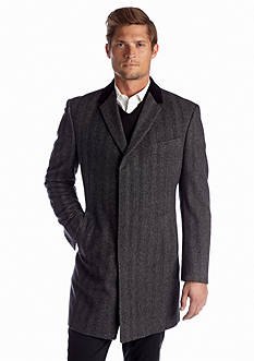 Tommy Hilfiger® Bleeker Charcoal Herringbone Overcoat