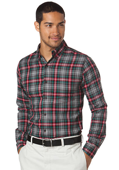 Chaps Riverside Herringbone Plaid Shirt