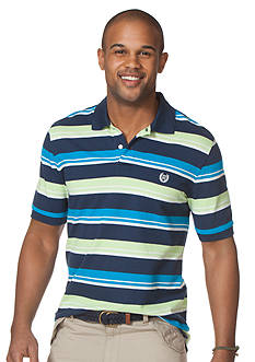 Chaps Striped Piqu Polo Shirt
