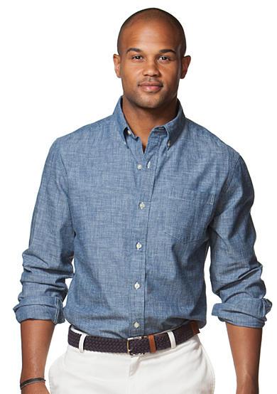 Chaps chambray button down shirt belk for Chaps button down shirts