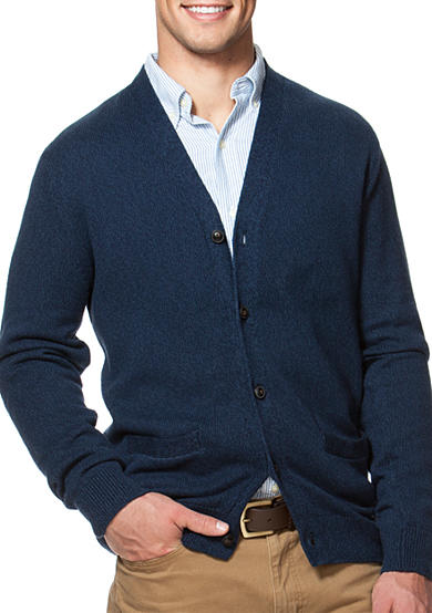 Chaps Combed Cotton V-Neck Cardigan