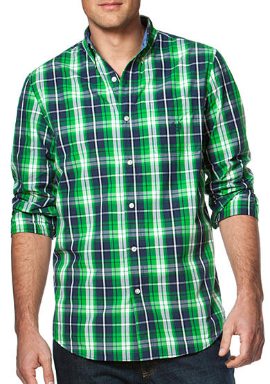 Chaps plaid cotton blend button down shirt for Chaps button down shirts