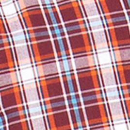 Men: Chaps Casual Shirts: Burgundy Wine Chaps Plaid Poplin Shirt