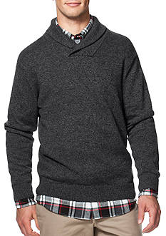 Chaps Combed Cotton Shawl Pullover