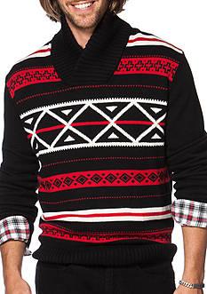 Chaps Patterned Shawl Sweater