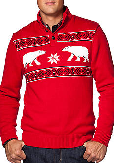Chaps Patterned Mock Neck Sweater
