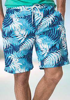 Chaps Tropical-Print Swim Trunks