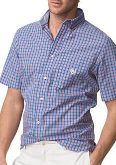 Chaps Short-Sleeve Checked Poplin Shirt