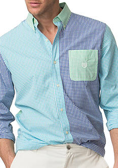 Chaps Color-Blocked Gingham Shirt