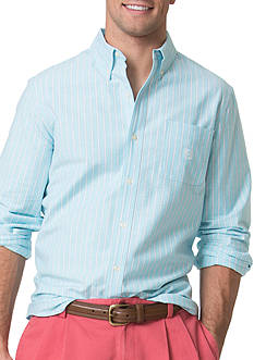 Chaps Striped Stretch-Oxford Shirt