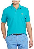 Chaps Short Sleeve Solid Pique Cotton Mesh Polo