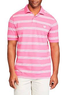 Chaps Short Sleeve Striped Mesh Polo Shirt