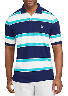 Chaps Short Sleeve Striped Mesh Polo Shirt