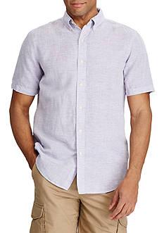 Chaps Short Sleeve Solid Linen Cotton Shirt