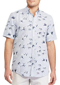 Chaps Short Sleeve Printed Linen Cotton Shirt