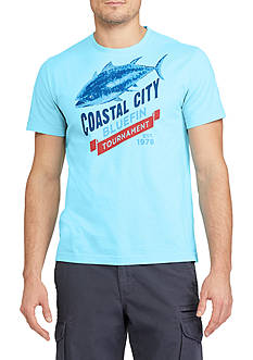 Chaps Short Sleeve Coastal City Blue Fin Graphic Tee