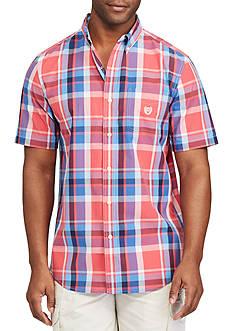 Chaps Short Sleeve Large Plaid Print Shirt