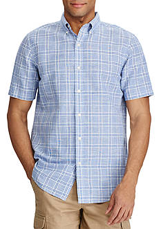 Chaps Short Sleeve Checked Linen Cotton Shirt