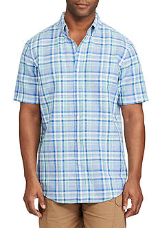 Chaps Short Sleeve Plaid Linen Cotton Shirt